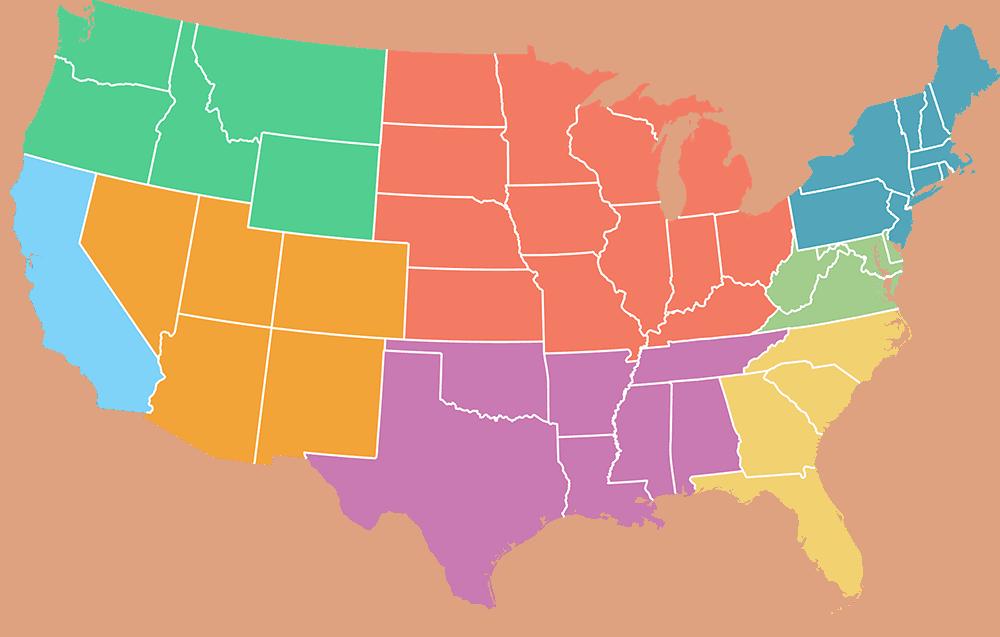 usa map 8 regions
